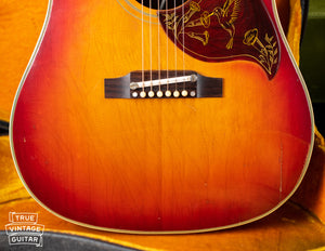Adjustable bridge, ADJ bridge, 1963 Gibson Hummingbird guitar