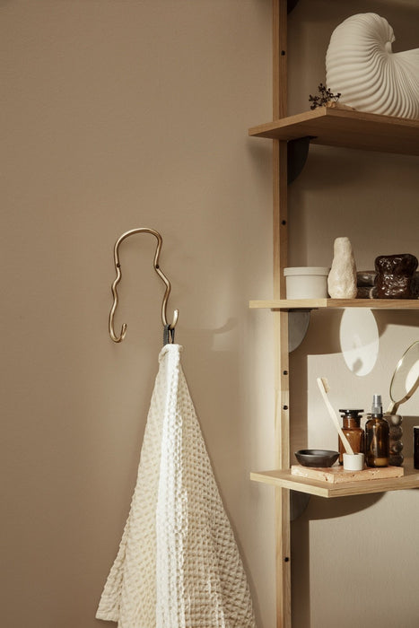 Ferm Living Curvature dobbel knage - messing