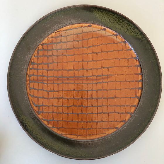 Stoneware Platter With Feathered Slip Design