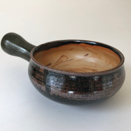 Stoneware Bowl with Thrown Handle