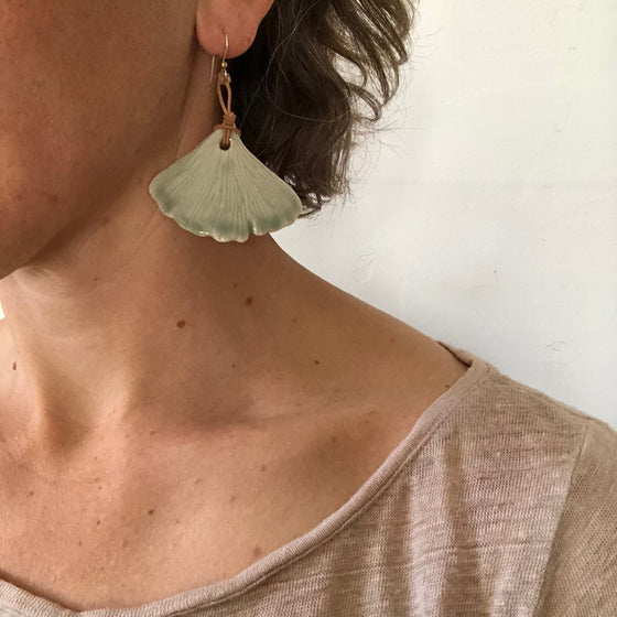 Ceramic Leaf Earrings