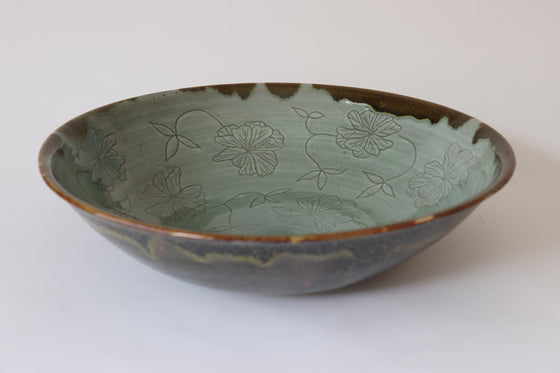Stoneware Serving Bowl with Carved Peony Design