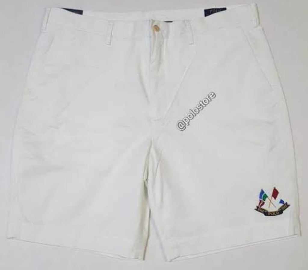 Poloralphlauren white crossflag cotton shorts