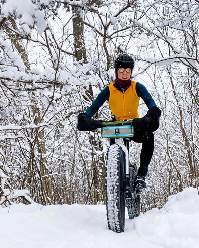 Erin on her Otso Voytek fat bike in snow
