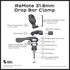 ReMote diagram 31.8mm clamp for Drop bar