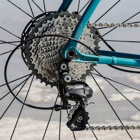 Wolf Tooth 1x drivetrain with RoadLink installed on bike for Shimano close up