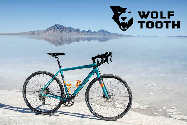 Teal bike with 1x drivetrain setup, mountain view