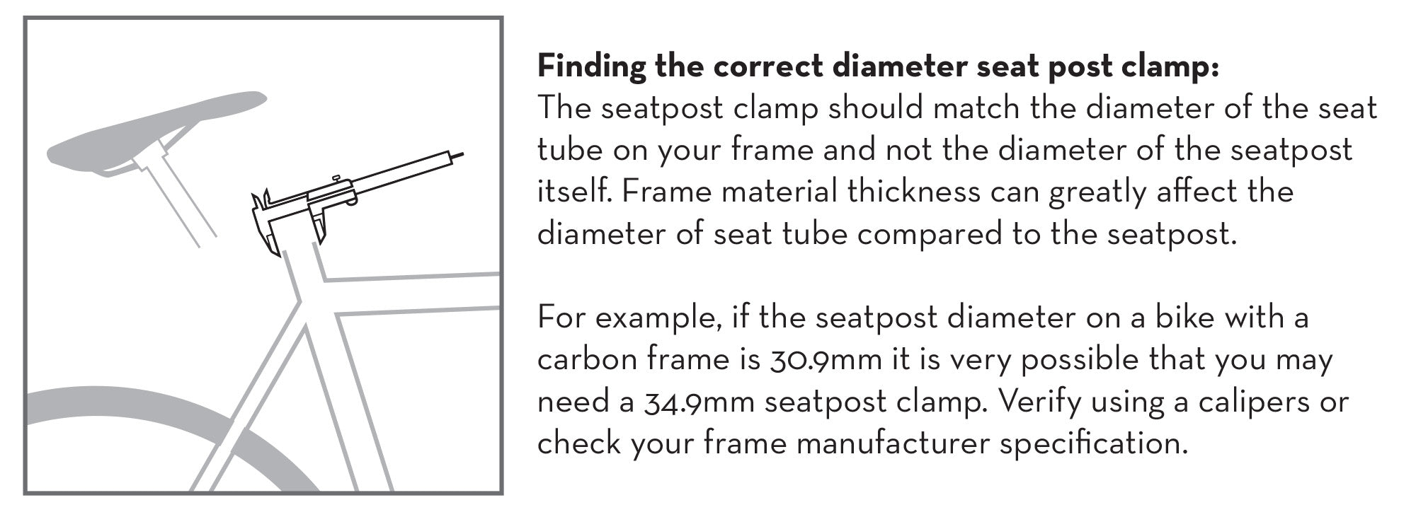 Finding the correct diameter seatpost clamp infographic