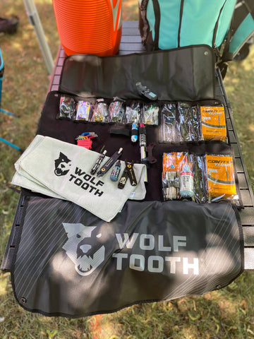 Wolf Tooth Travel Tool Wrap loaded with tools