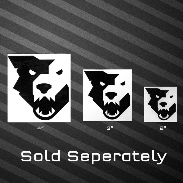4, 3, and 2 inch Wolf Tooth black wolf head decals