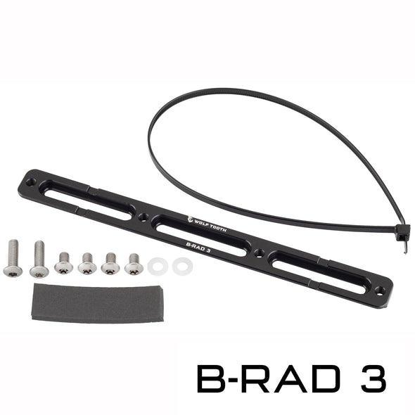 Wolf Tooth B-RAD 3 with zip tie, 2 long mounting screws, 4 short mounting screws, 2 washers, and foam pad