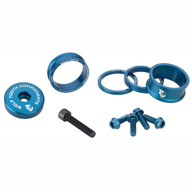 Wolf-tooth-bling-kit-15,10,5,3 spacers-stem cap-water bottle bolts blue