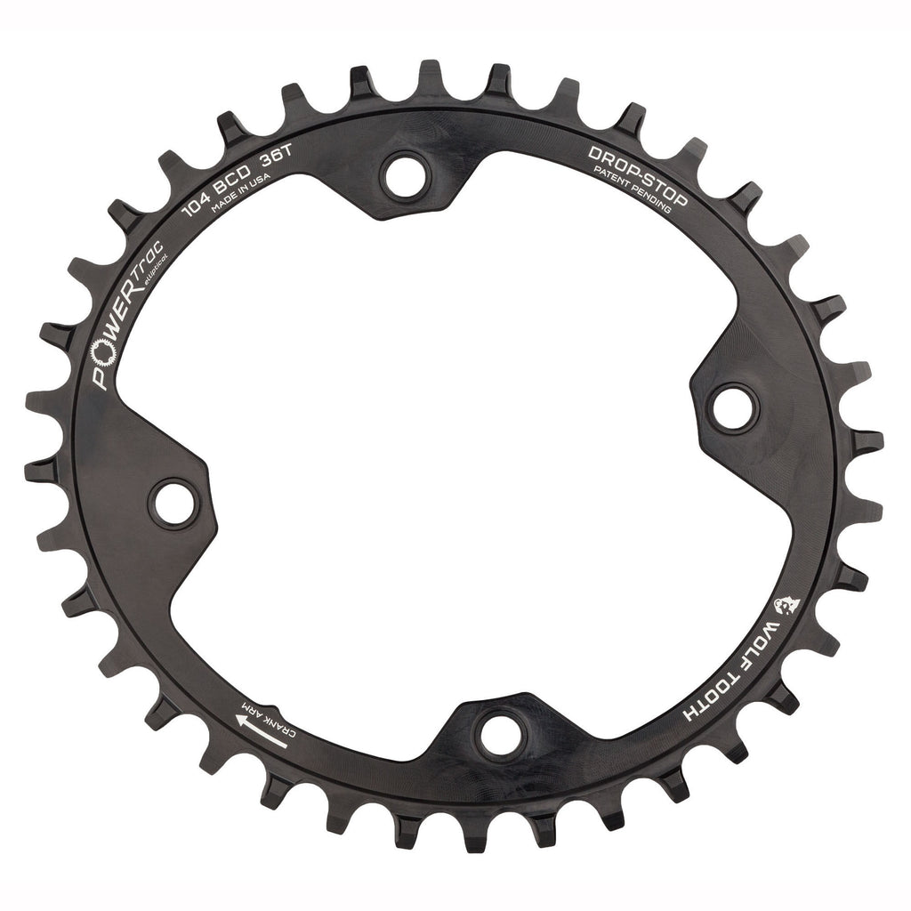 104 BCD 34t Black Drop-Stop Wolf Tooth Elliptical 104 BCD Chainring 4-Bolt