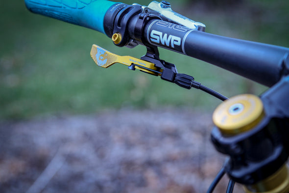 Wolf Tooth ReMote Gold Clamp Dropper Lever on bike