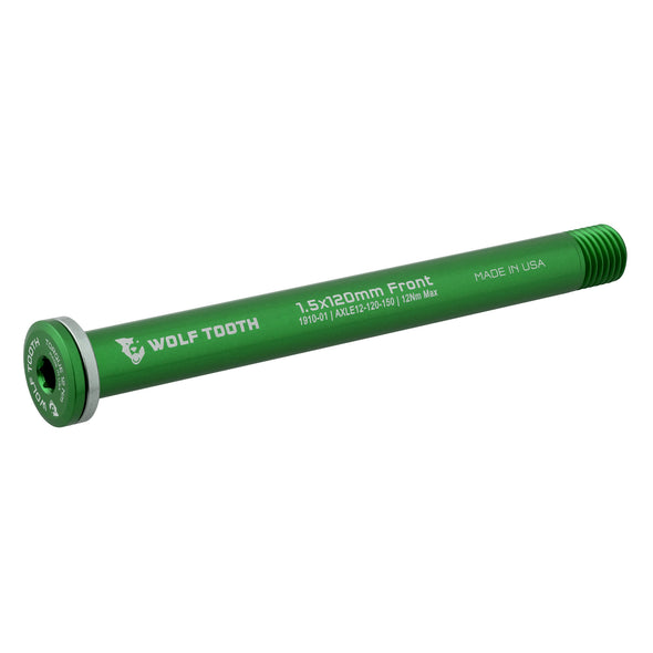 Wolf Tooth Front Road axle 1.5x120mm color green