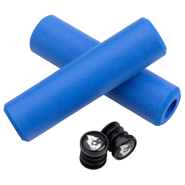 Wolf Tooth Fat Paw handlebar grips in blue with bar end plugs