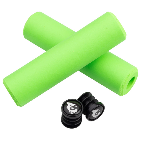 Wolf Tooth Fat Paw handlebar grips in green with bar end plugs