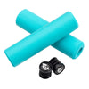 Wolf Tooth Fat Paw handlebar grips in teal with bar end plugs