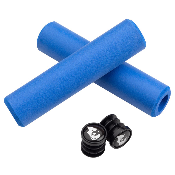 Wolf Tooth Karv grips 100% silicone Blue and bar end plugs