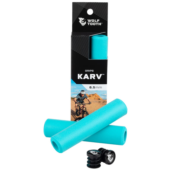 Wolf Tooth Karv grips 100% silicone Blue in the package and outside with bar end plugs