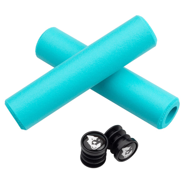 Wolf Tooth Karv grips 100% silicone Teal and bar end plugs