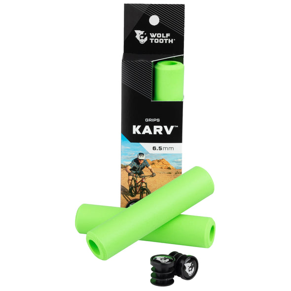 Wolf Tooth Karv grips 100% silicone Green in the package and outside with bar end plugs