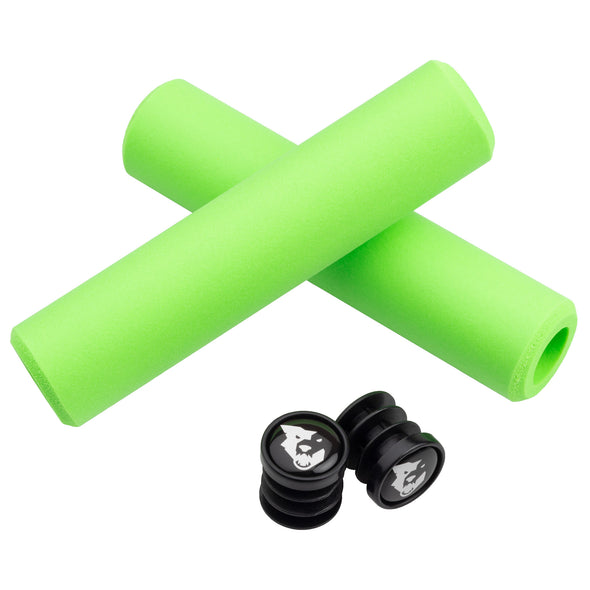Wolf Tooth Karv grips 100% silicone Green and bar end plugs
