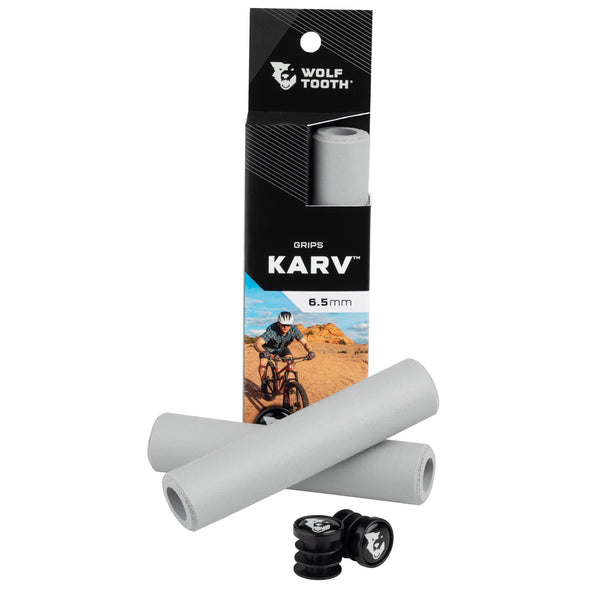 Wolf Tooth Karv grips 100% silicone Grey in the package and outside with bar end plugs