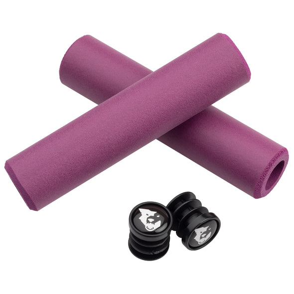 Wolf Tooth Karv grips 100% silicone Purple and bar end plugs