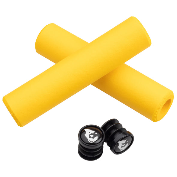 Wolf Tooth Karv grips 100% silicone Yellow and bar end plugs