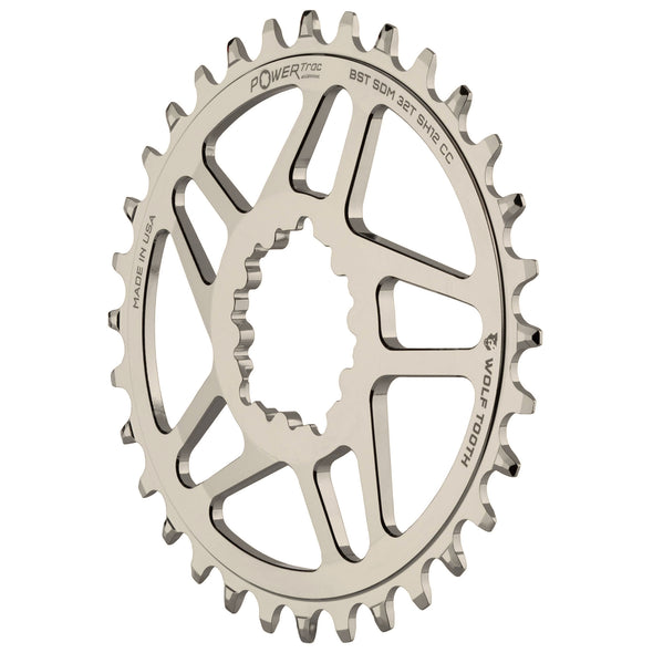 Wolf Tooth Oval SRAM Direct Mount chainring for Shimano 12 Hyperglide+ chain, Nickel-plated