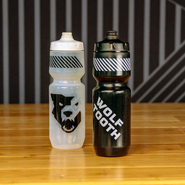 Wolf tooth water bottle black and clear