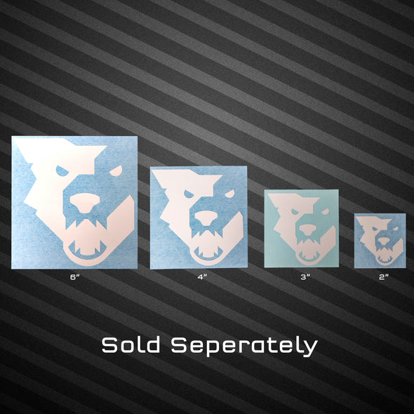 6, 4, 3, and 2 inch Wolf Tooth white wolf head decals