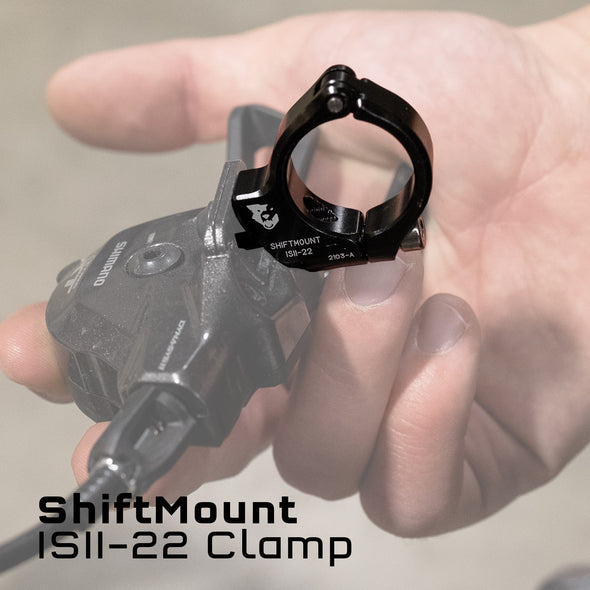 Wolf Tooth ShiftMount ISII-22 mounts a Shimano I-SPEC II shifter to the bar with a 22.2mm Clamp
