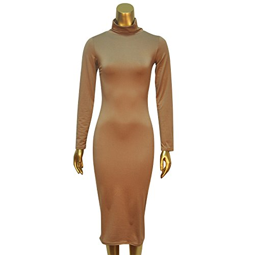 Women Turtleneck Long Sleeve Slim Bodycon Wrap Tunic Pencil Midi Dress