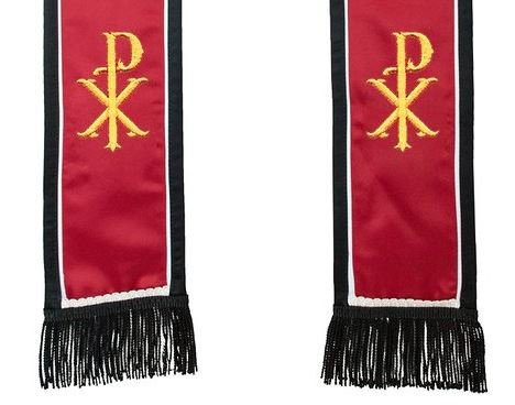 Satin Clergy Stole with Embroidered Christ's Name Symbol