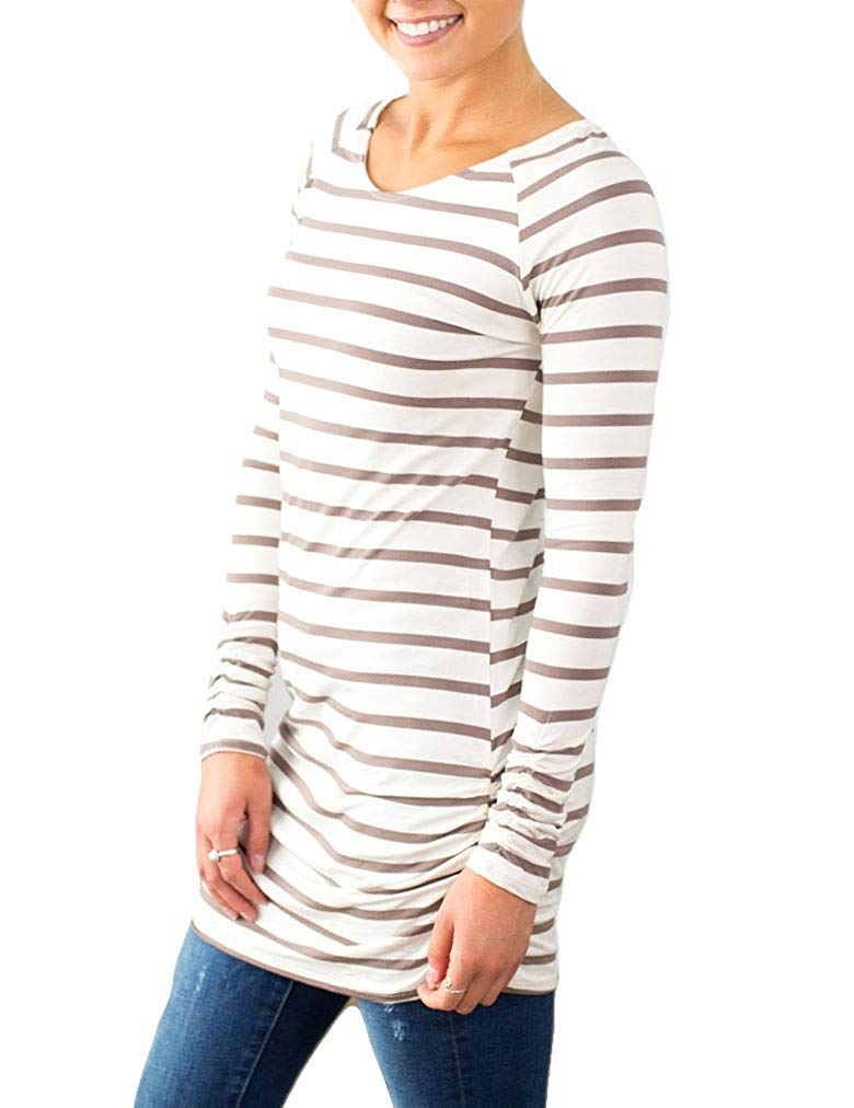 Womens Basic Slim Fit Long Sleeve Striped T Shirt Dress Ruched Tunic Tops