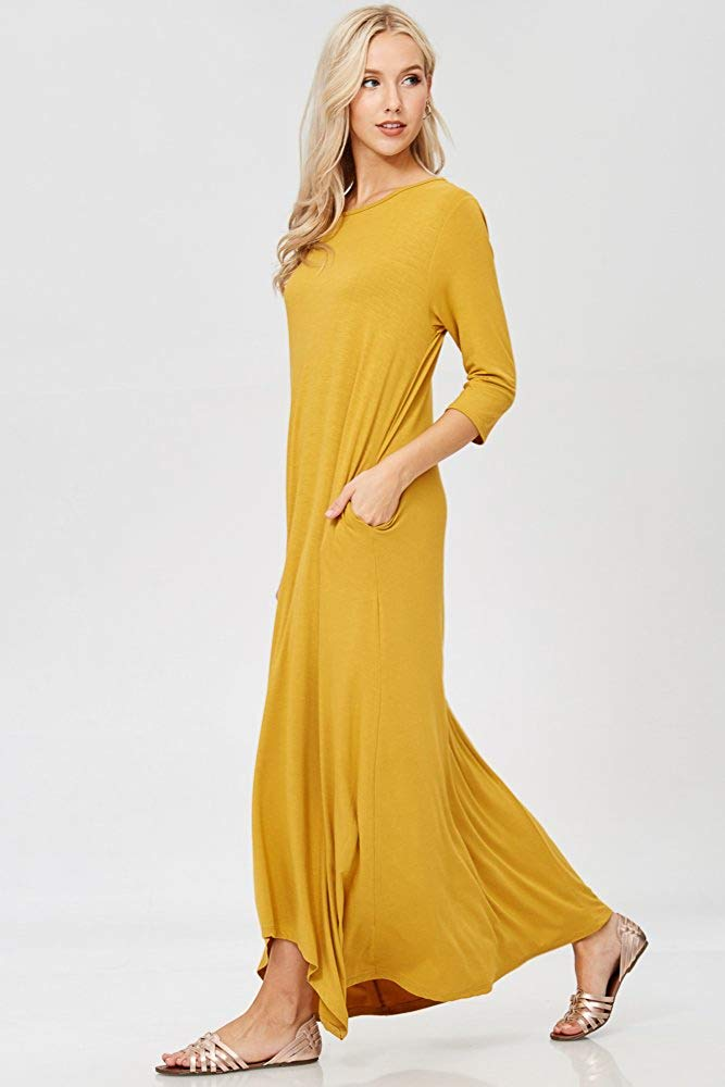 Women's 3/4 Sleeve Casual Loose Fit Maxi Dresses with Side Pockets