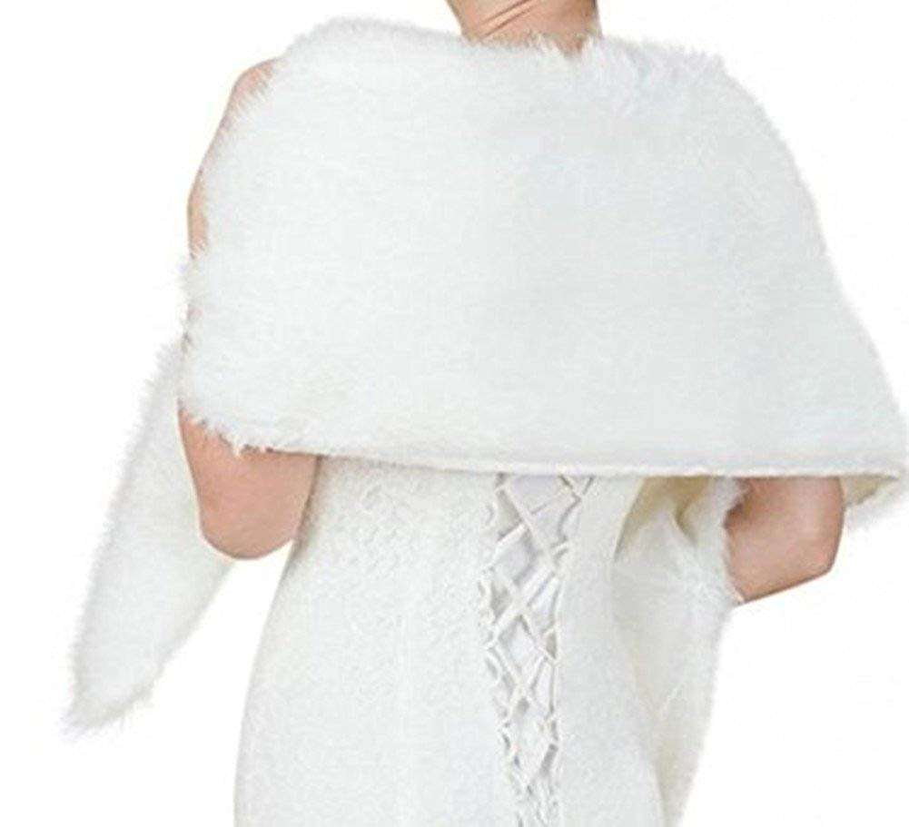 White Faux Fur Wrap Shawl Shrug Bolero Cape for Bridal Winter Weddings Gift