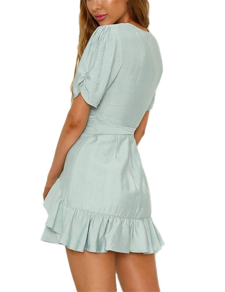 CLOUR Women's Sexy Deep V Neck Short Sleeve Ruffle Cocktail Belted Mini Dress