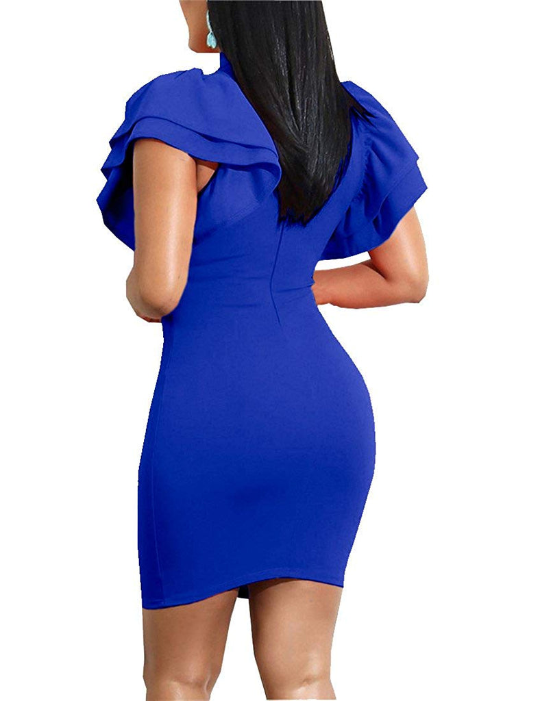 Women's Sexy Ruffle Short Sleeve Hollow Out Bodycon Party Mini Club Dress