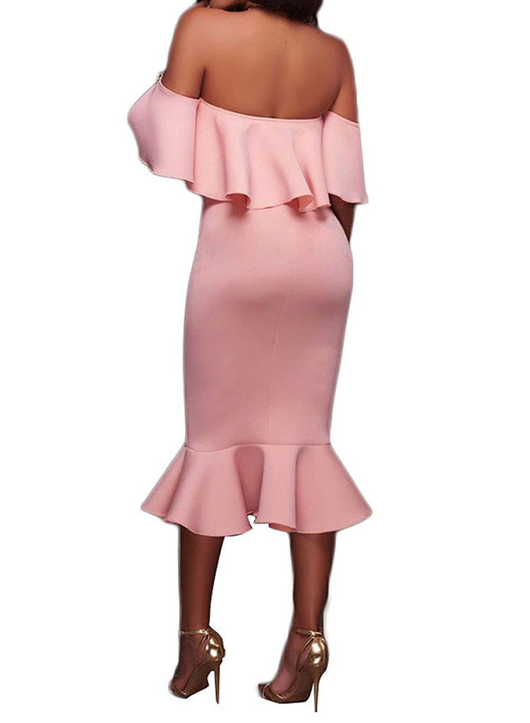 Women's Off The Shoulder Ruffle Evening Party Bodycon Mermaid Midi Dress