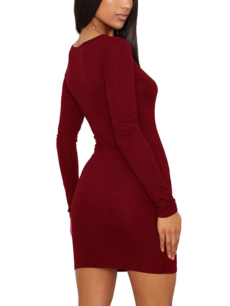 Women's Sexy Casual Bodycon Long Sleeve Mini Club Dress