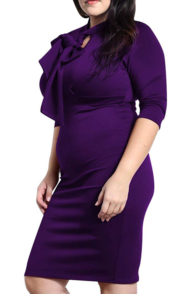 Queen Womens Plus Size Deep V Neck Wrap Ruched Waisted Bodycon Dress