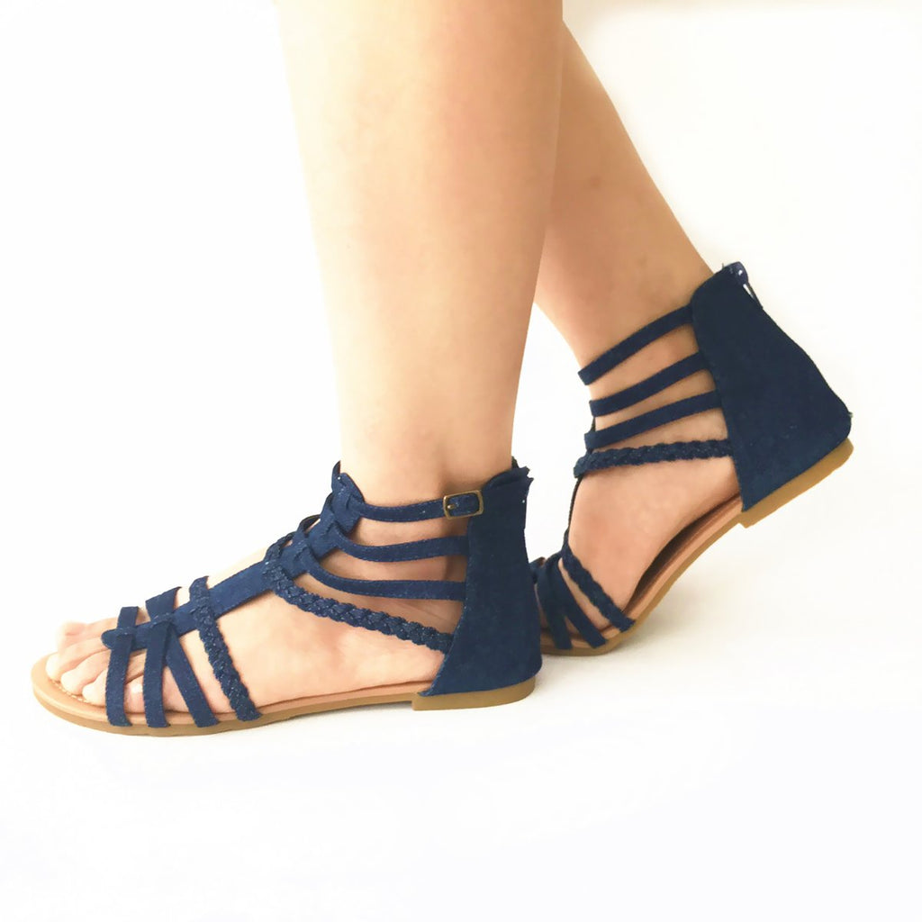 Womens Buckle Zip Thong Gladiator Sandal