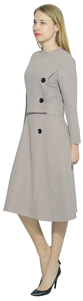 Womens Elegant Dress Work Office Lined Tea Midi Dress
