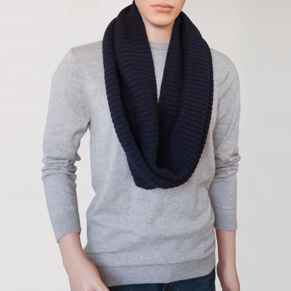Mens Wool Blend Extra Wide Warm Infinity Scarf - Winter Scarf for Men