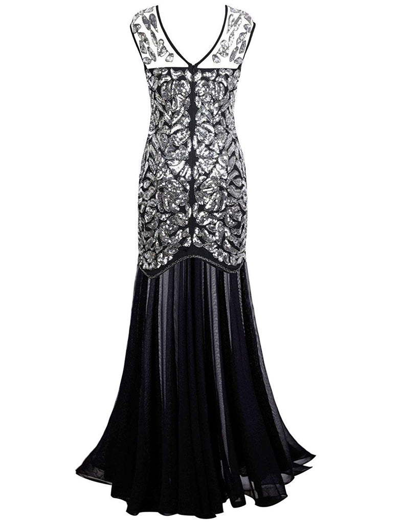 Women's 1920s Beaded Sequin Floral Maxi Long Gatsby Flapper Prom Dress