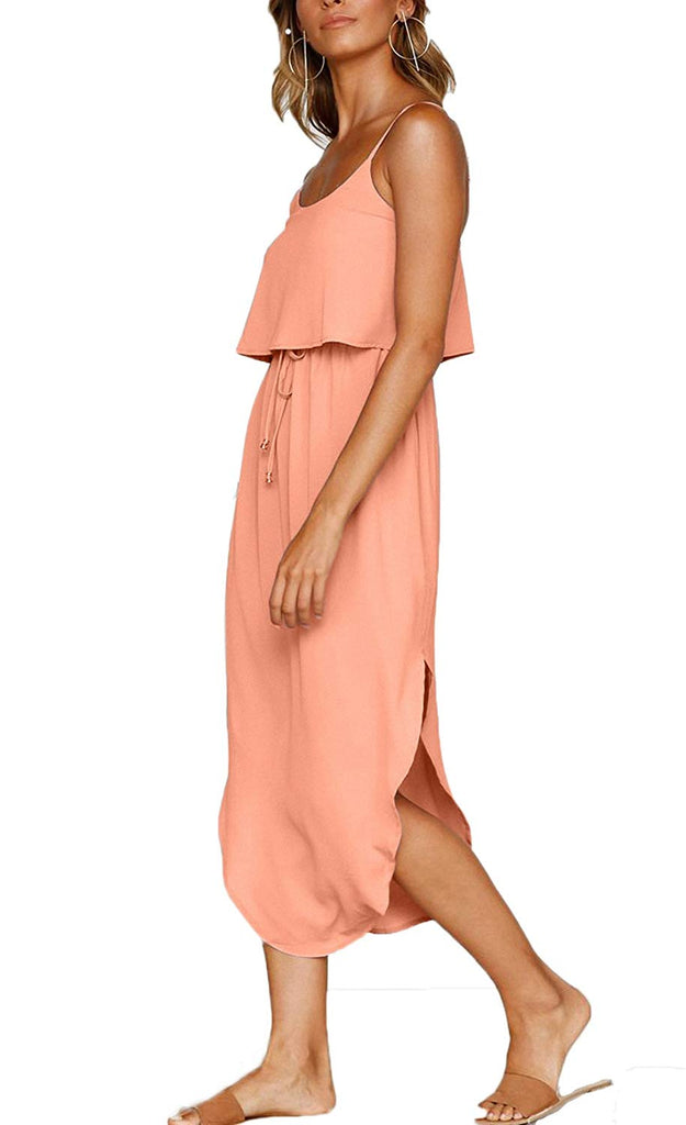 Women's Adjustable Strappy Split Autumn Beach Casual Midi Dress