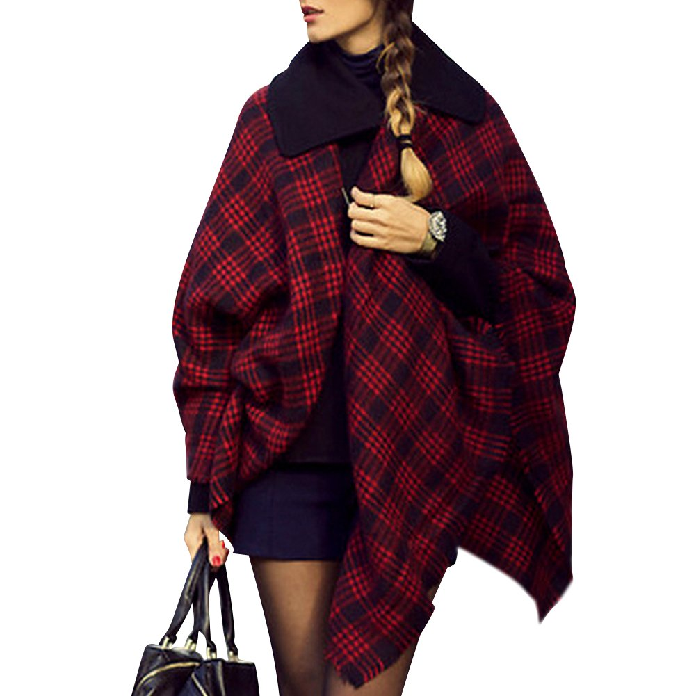 Bridal Women's Plaid Blanket Winter Scarf Warm Cozy Tartan Wrap Oversized Shawl Cape
